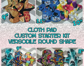 """CUSTOM STARTER KIT / You Pick Prints! / Made To Order Cloth Pad Set // Versodile Round (2.75"""" Gusset Width)"""