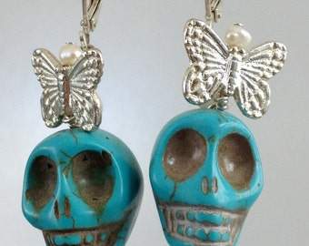 Frida Turquoise Skull with Silver Butterfly Earrings, Sugar Skull,Dia de los Muertos,Day of the Dead