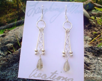 Earrings- Tears of Angels, Pineapple quartz and sterling silver
