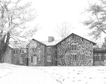 CUSTOM Home or BUILDING Portrait in Pen & Ink by Suzanne Churchill, Perfect Realtor's Closing Gift, Parents Gift, Gift Certificate Available