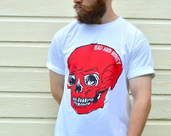 Mens Skull Tee, Graphic Mens Shirts, Gift For Him, Skull Shirts, Skull Graphic Tee, Red Skulls, Graphic Tee Shirts, Mens White Tees