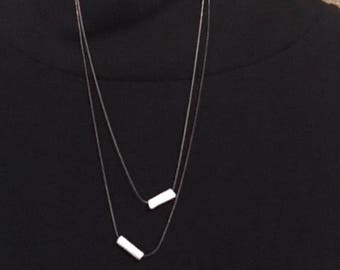 Minimalist Necklace with Polymer Clay Accent Tubes