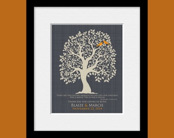 Roots and Wings Quote, Parents Thank You Gift, Parent's Wedding Day Gift, Bride's Parent Gift, Groom's Parent Gift, Wedding Tree Print
