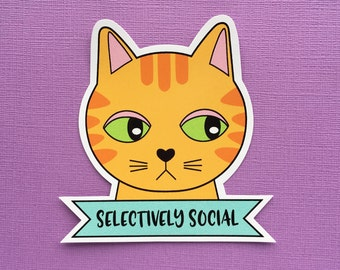 Selectively Social Cat sticker - large laptop stickers - animal vinyl sticker - funny stickers