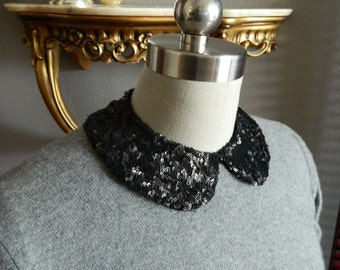 Black Sequin Peter Pan Collar Necklace with Jewelry Closure Back