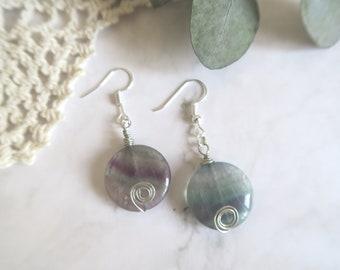 earrings, fluorite Earrings,Rainbow Fluorite Earrings,Gemstone Earrings, Simple Drop Earrings
