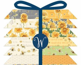Bee My Sunshine Fat Quarter Bundle, 15 Pieces, Whistler Studios Collection, Windham Fabrics, Precut Fabric, Quilt Fabric, Cotton Fabric