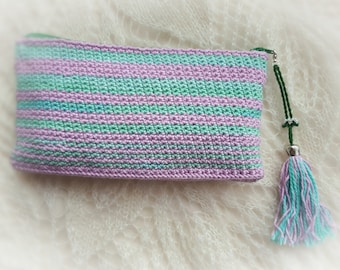 Crocheted purple and green pencil case/ Crocheted cosmetic case/Crochet purse/Made in cotton/ Ready to ship