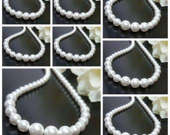 Set of 8 Graduated Pearl Necklaces, Swarovski Pearl Necklace, Classic Bridal Jewelry, Eight Bridesmaids Necklaces, Faux Pearl BridalNecklace