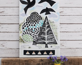 Birds & Trees Wall Canvas - Handprinted Fabric Picture/Flying Birds