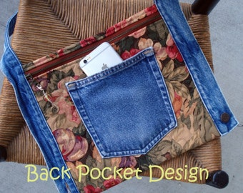 Quilted Waistband Pocket Hip Purse made with recycled denim and home decorator floral fabric