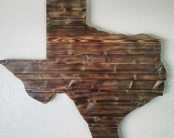 Large Reclaimed Wood Texas Wall Art - Large Torched Wood Rustic Texas - Wedding Guest Book - Unique Gift