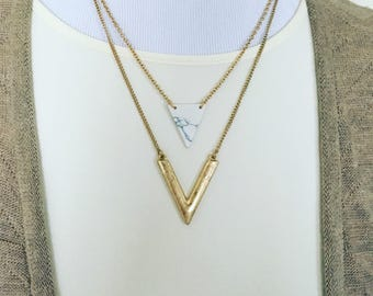 White marble necklace | marble pendant | triangle necklace | triangle pendant