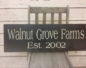 Farm Sign, Ranch Sign Wood Established Sign Family Room decor family wall sign porch sign Engraved Personalized Family Name
