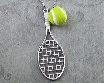 Tennis Necklace LARGE Tennis Racket Necklace Tennis Ball Necklace Tennis Jewelry Tennis Player Gift Sports Necklace Sports Jewelry Statement