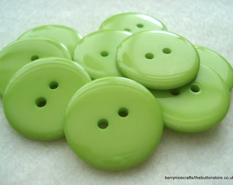 25 Lime Green Buttons, 23mm Lime Green Resin Buttons, Pack of 25 Lime Green Buttons, 8p Each!! A107