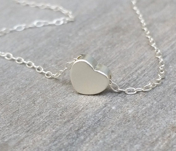Silver heart necklace heart pendant necklace mothers silver heart necklace heart pendant necklace mothers necklace silver heart jewelry little heart simple necklace birthdays gifts aloadofball Choice Image