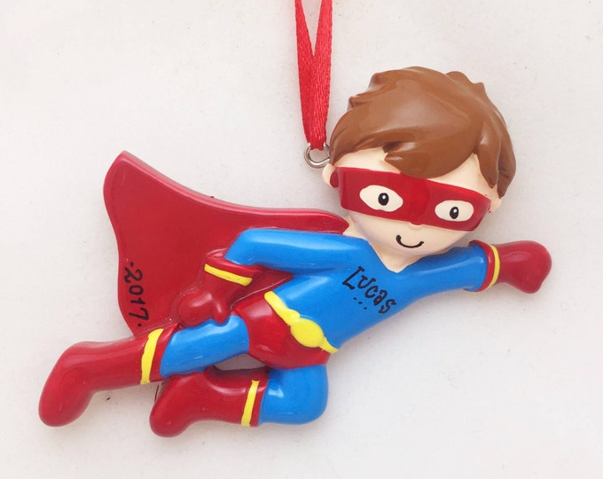Featured listing image: Superhero Boy Personalized Christmas Ornament / Toddler Christmas Ornament / Little Boy Ornament / Super Hero