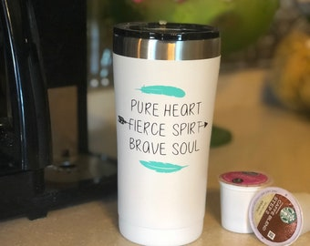 20 oz Tumbler Pure Heart with Feathers