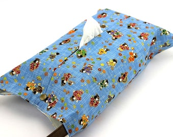 Large tissue box cover, Hanging Kleenex box holder, Birthday gift, Children Light Blue