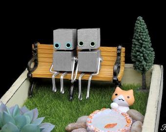 Robot and Cat Wedding Cake Topper, Miniature Succulent Air Plant Terrarium, Steampunk Garden Planter