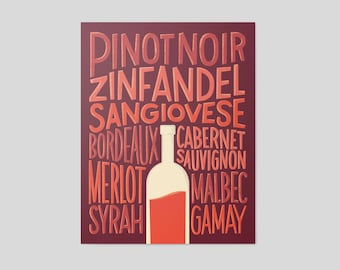 Red Wine Varieties - Hand Lettered Poster