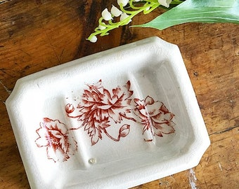Something Old... Antique Vintage Transferware Transfer Ware Ironstone Floral Soap Dish Farmhouse Vintage Home Decor Trinket Dish Bowl