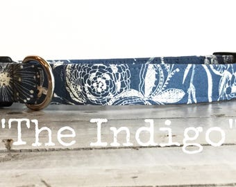 DOG COLLAR, Dog Collars, The Indigo, Dog Collars, Dog Collars for Girls, Romantic, Blue, Floral, Imprint