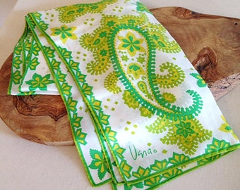Vintage Vera Neumann Green and White Paisley Print Long Scarf Silk