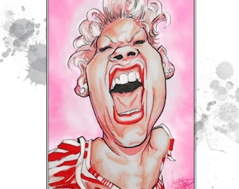 Airbrushed Custom Caricature - HAND-DRAWN using Copic Markers and Airbrush system