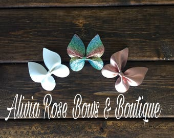 Faux Leather bow, Butterfly, Leather bow, Baby Headband, Butterfly Leather Bow, Butterfly Bow
