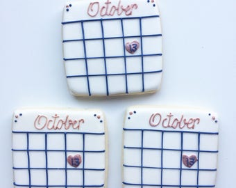 2 Dozen Save the Date Cookies, Engagement Cookies, Wedding Cookie favors, Bridesmaid Cookies, Bridal shower cookies