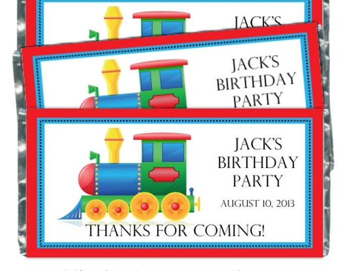 Printable Candy Wrappers, Train Custom Candy wrappers, Train Birthday Candy Wrappers - fit over chocolate bars - CUSTOM design for you