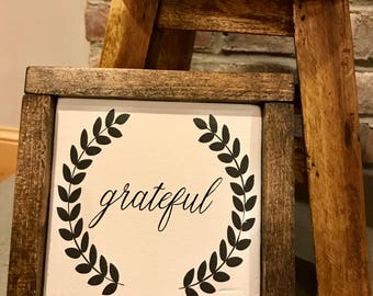 Grateful Painted Wooden Sign 9X9