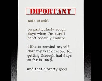 Oops Print - Important Note to Self - 8 x 10 inch Gold & Red Foil Print - A reminder that everyone one of us get through rough patches