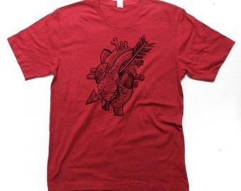 XL Mens Anatomical Heart Tshirt, Heart and Arrow, Tattoo Shirt, Custom Color Tshirtm Small, Medium, Large, XL, 2XL (14 Color Options)