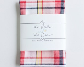 Pocket Square, Pocket Squares, Handkerchief, Mens Pocket Square, Boys Pocket Square, Wedding Pocket Squares - Coral/Blush/Navy Madras Plaid