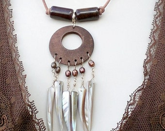 Boho Fringe Pendant, Wood, Shell and Freshwater Pearls on leather necklace; Handmade; Dream Catcher