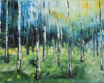 Original Oil Art Forest Birch Trees Painting Oryginal Idea Decor wall art decor palette knife forest painting tree nature