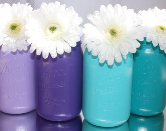 Wedding centerpiece  painted mason jars (  set of 4 ) peacock themed these are perfect for a peacock theamed wedding reception
