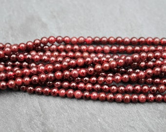 4mm Garnet Beads, Natural, Round, Half or Full Strand, Deep Red, 4 mm, Red Beads, Natural, Gemstone, January Birthstone, Garnet, 4mm Beads