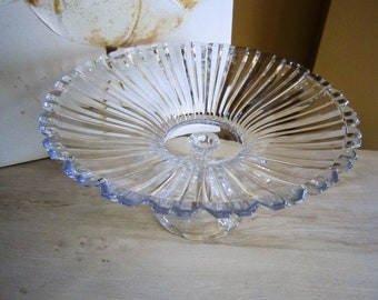 Vintage pedestal glass fruit bowl, Compote Pedestal Bowl, Glass Cake stand, Centerpiece