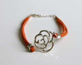 Leather Bracelet Rose Flower Orange Suede