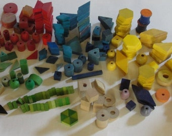 Large Collection of 1950s wood Building Blocks Colorful Wood Shapes Toy Blocks