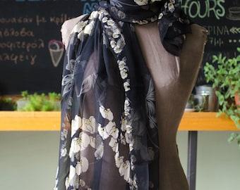 Vintage Sheer Black Floral Shawl - modern and elegant patterned scarf