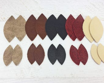 20 Leather Shapes, Diecut Leather Football Shapes for Earrings, Pairs of Leather Shapes, Stackable Leather, 10 Pairs in two sizes
