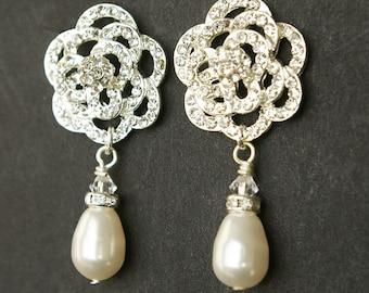 Ivory White Pearl and Crystal Bridal Wedding Earrings, Rhinestone Wedding Bridal Earrings, Vintage Style Pearl Drop Bridal Earrings, ROSE