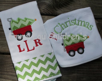 Personalized Baby Gift Set - One Burp Cloth and One Bib First Christmas