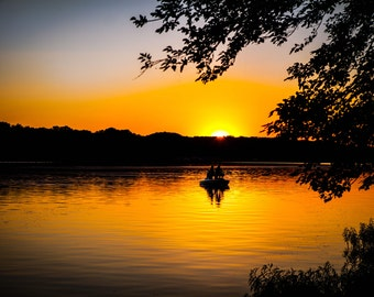 Peaceful Fishing Sunset - Landscape Photography - Rustic Home Decor Print