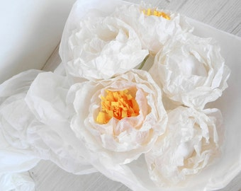 Five pieces of white paper peonies, paper flowers, paper peony, wedding decoration